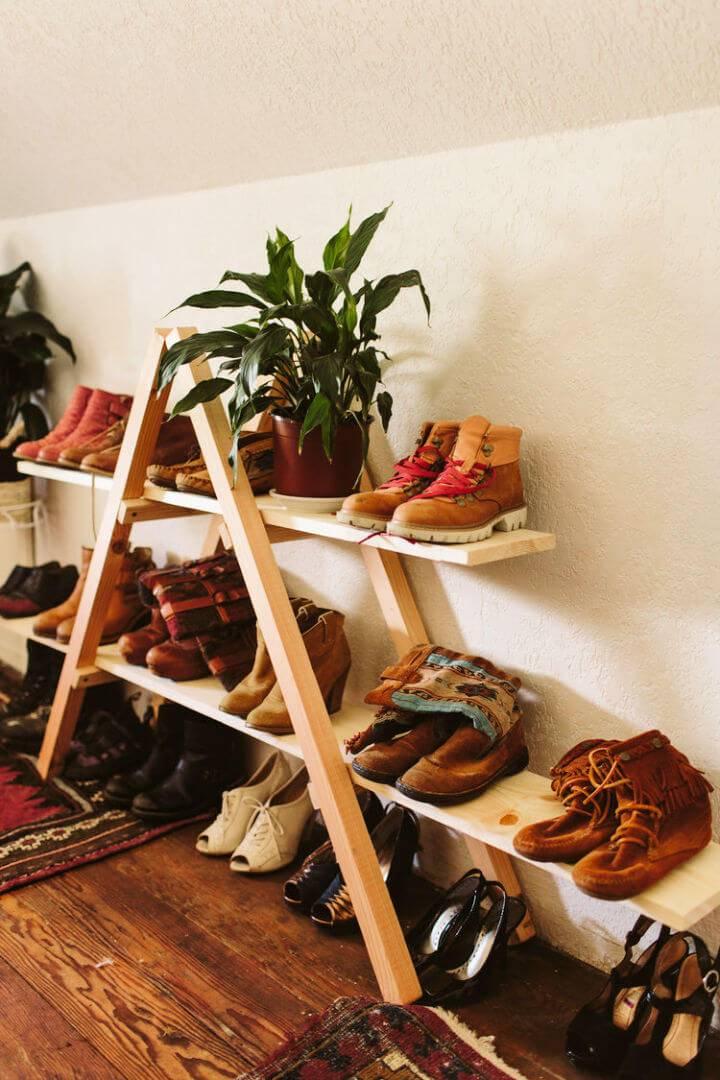 DIY Triangle Shoe Storage Shelf