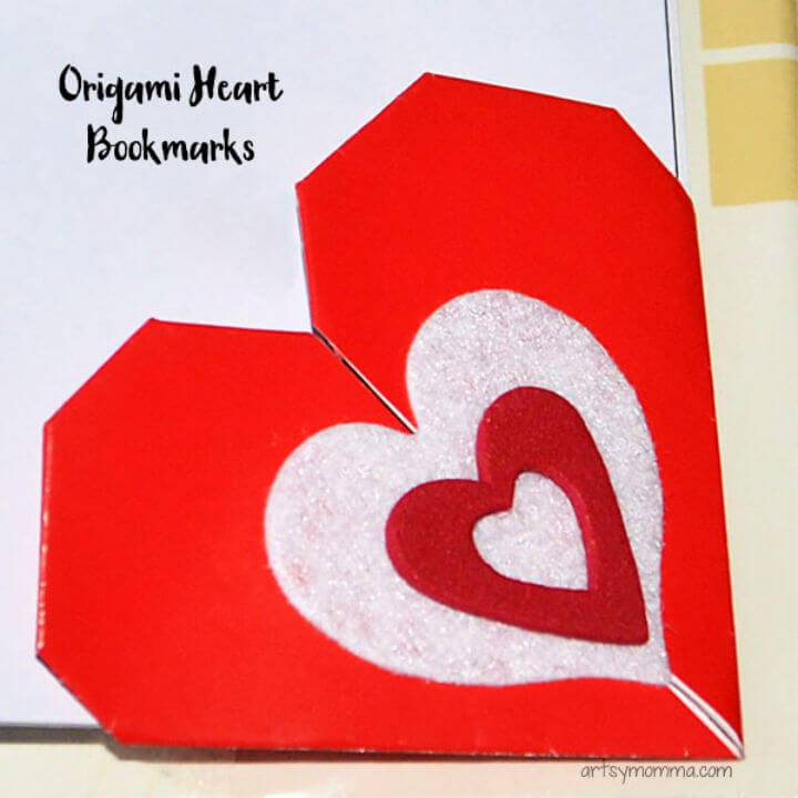DIY Valentine's Day Origami Heart Bookmarks