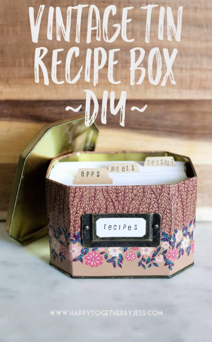 DIY Vintage Tin Recipe Box