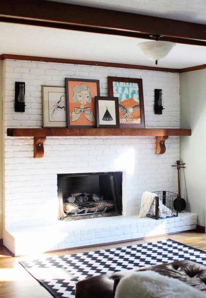 DIY White Painted Brick Fireplace