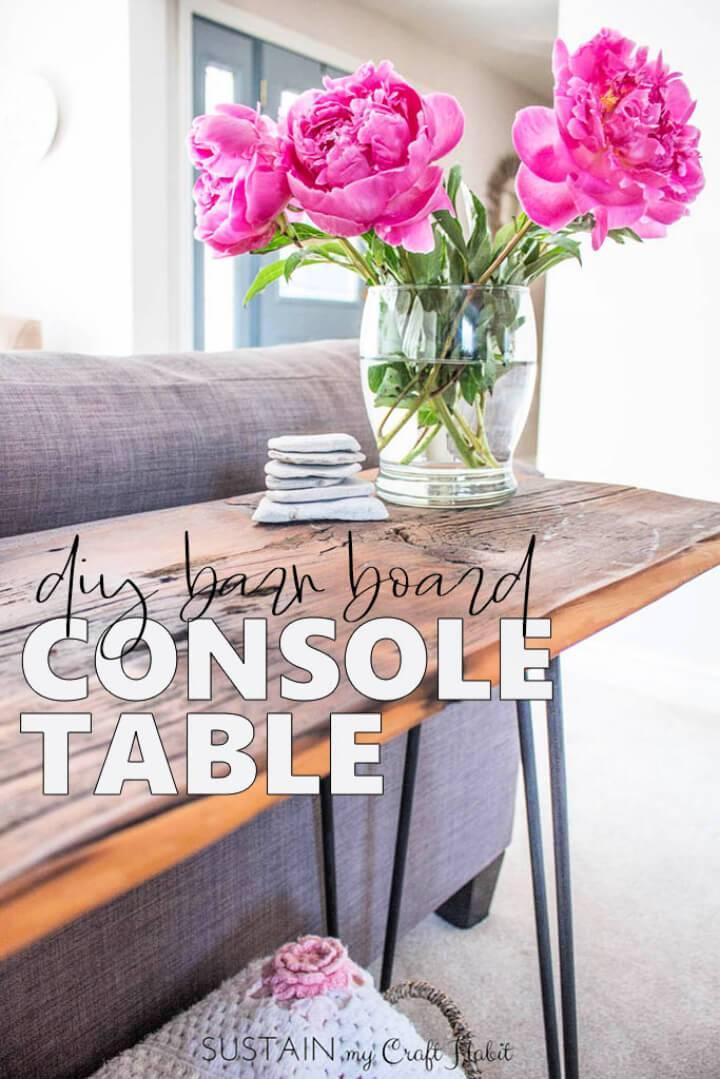 DIY Wood Hairpin Leg Console Table