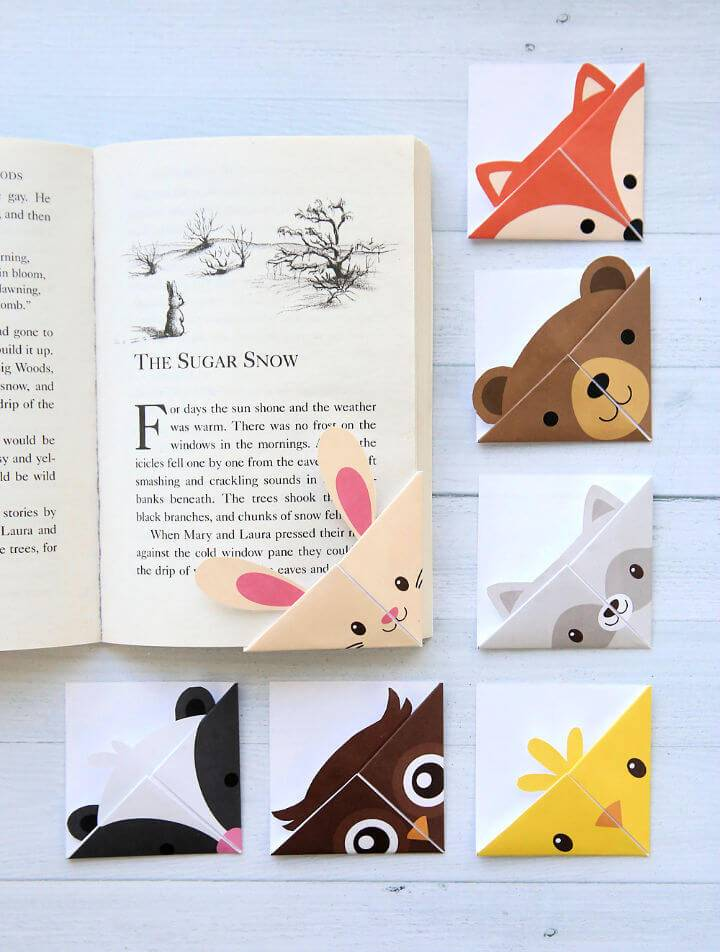 DIY Woodland Animals Origami Bookmarks