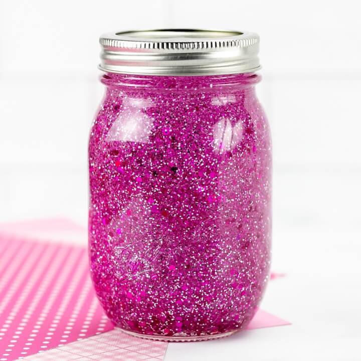 Easy DIY Pink Glitter Jar