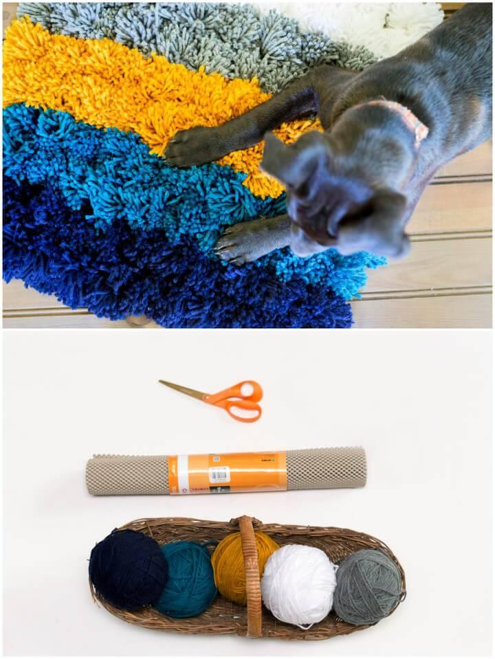 Easy DIY Yarn Pom Pom Rug