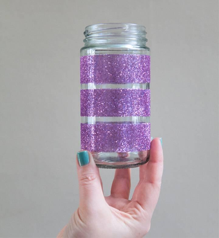 Easy to Make Glittered Glass Jars