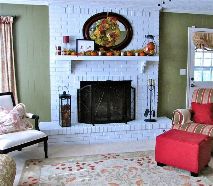 Elegant White Brick Fireplace