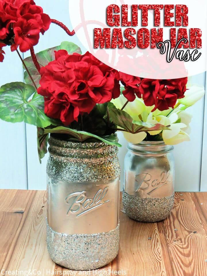 Fabulous DIY Glitter Mason Jar Vase