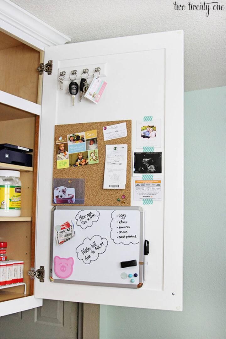 Family Command Center Inside Kitchen Cabinet