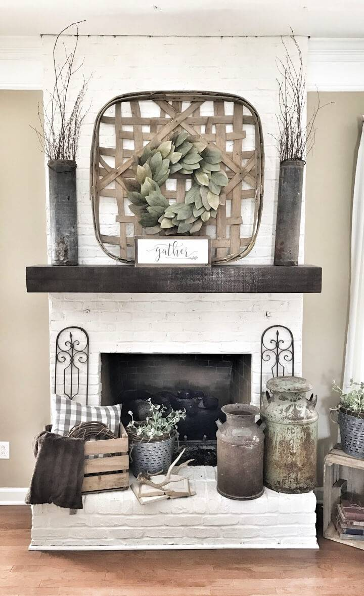 Farmhouse Style White Brick Fireplace