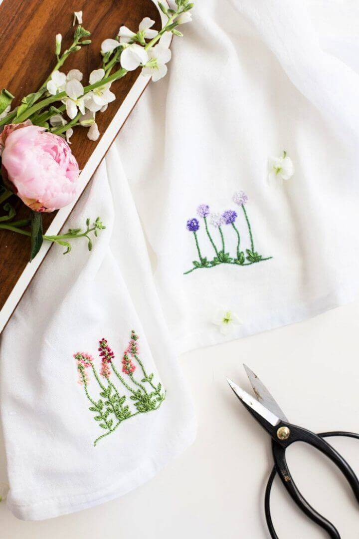 Floral Embroidery Pattern for Dishtowels