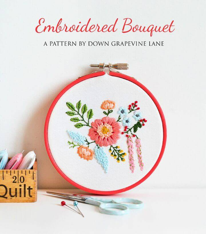 Free Embroidered Bouquet Pattern