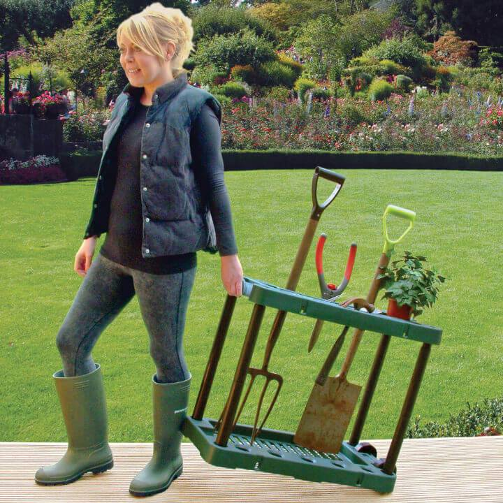 Garden Tool Storage Cart on Wheels