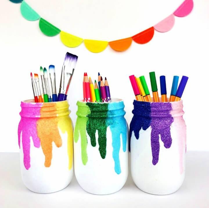 Glitter Mason Jars for Pencils Organizer