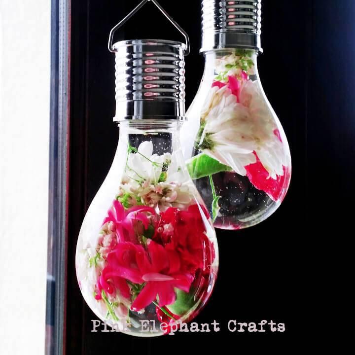 Hanging Light Bulb Flower Vase