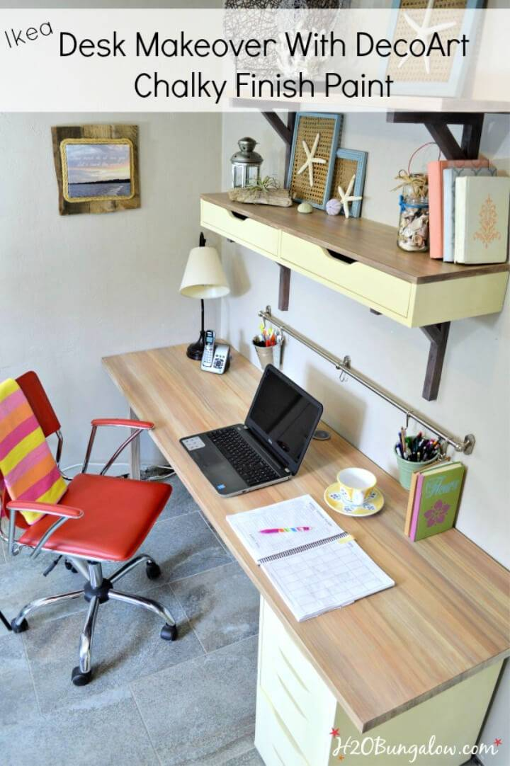 Ikea Desk Makeover with Decoart Chalky Paint
