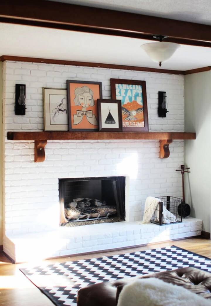 Incredible DIY White Painted Brick Fireplace