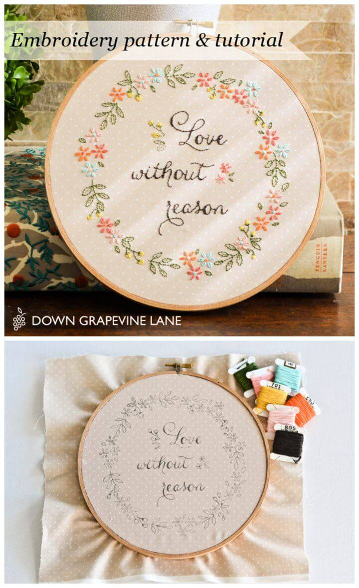 Love Without Reason Floral Embroidery Free Pattern