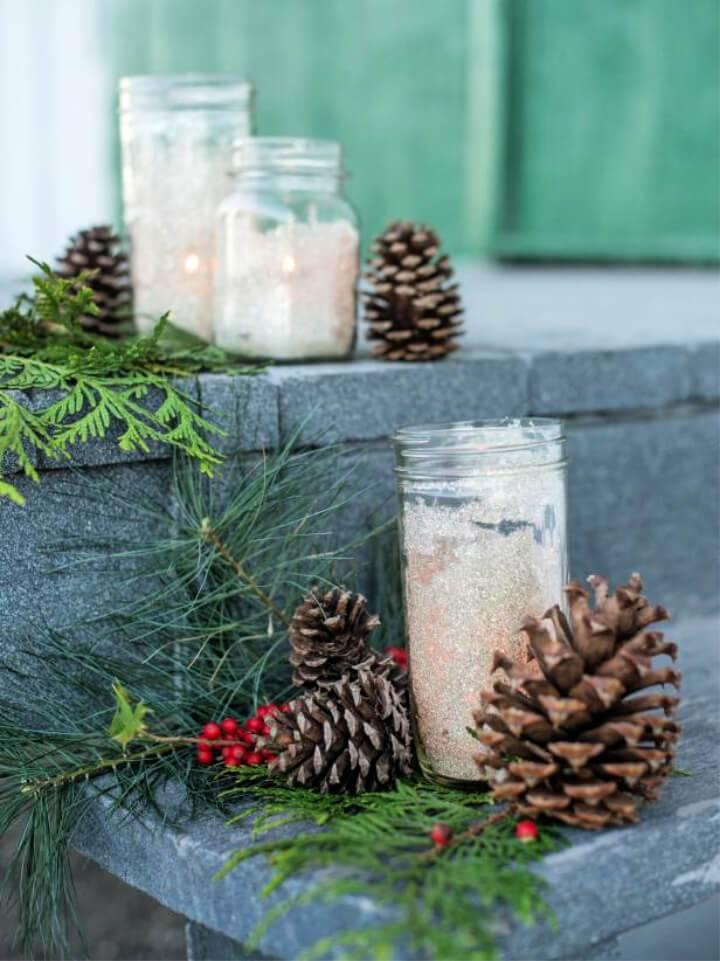 Make Glittered Mason Jar Lanterns