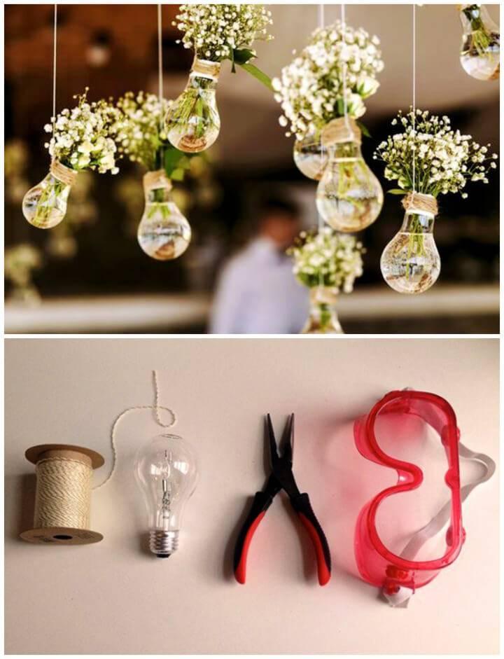 Make Hanging Light bulb Vase