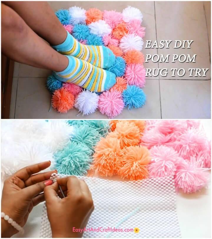 Make a Pom Pom Rug Using Yarn