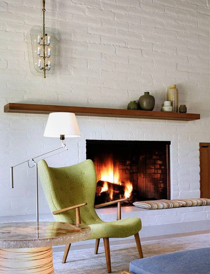 Mid Century White Fireplace