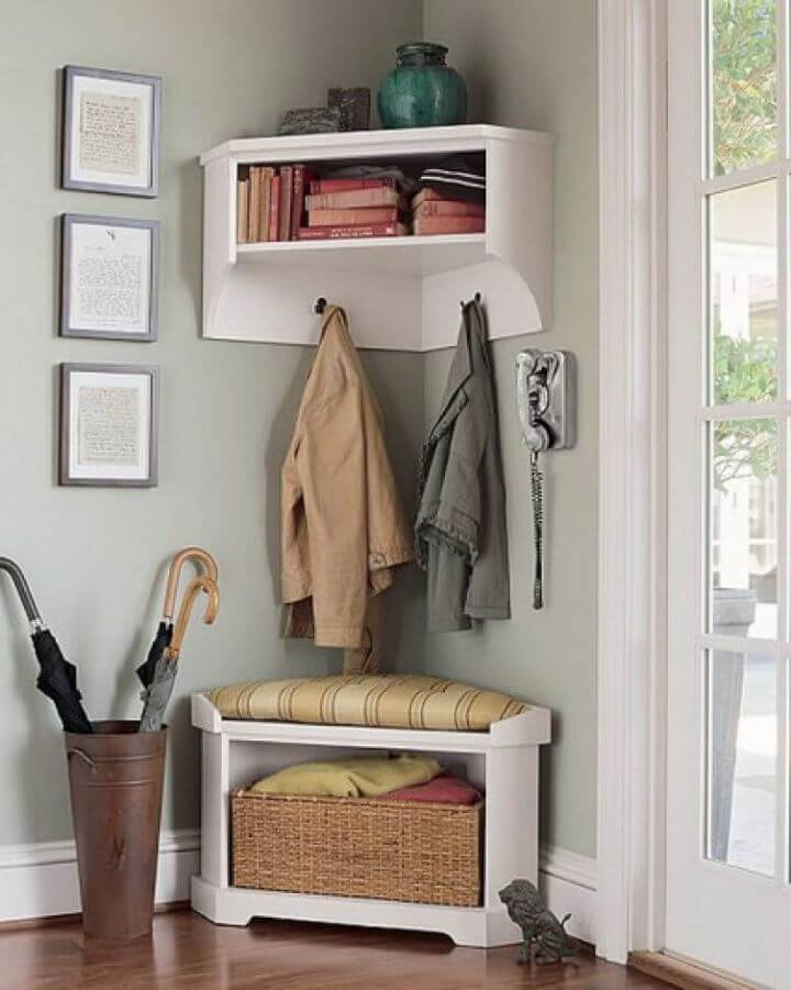 Mini Corner Storage Bench for Small Entryway