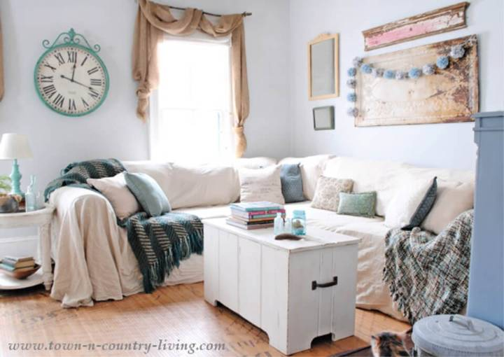 No Sew Drop Cloth Couch Slipcover