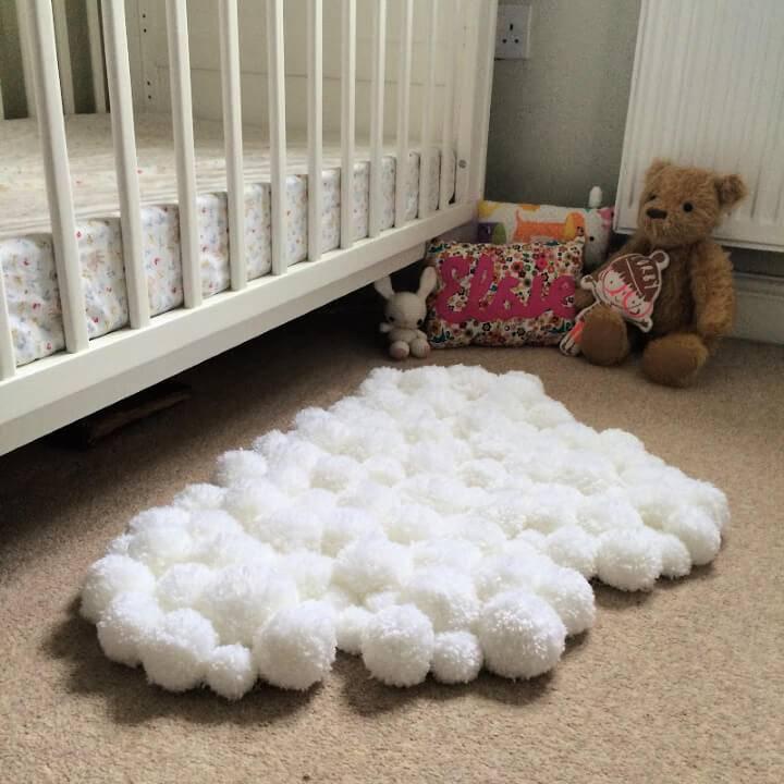 Pom Pom Cloud Rug for Childs Bedroom