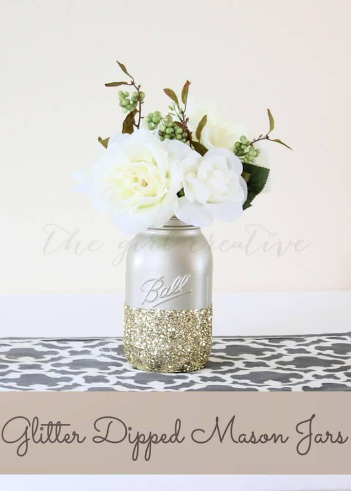 Pretty DIY Glitter Dipped Mason Jars