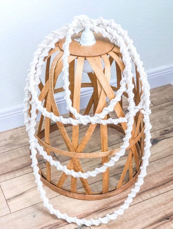 Pretty DIY Macrame Cord Basket Light