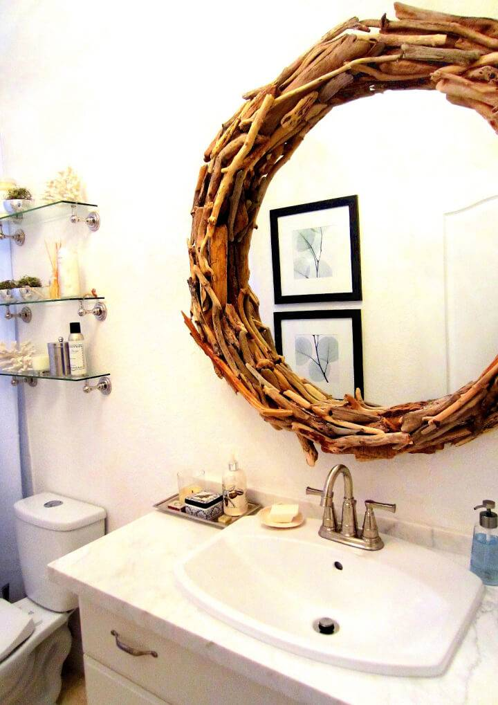 Pretty Simple DIY Drift Wood Mirror