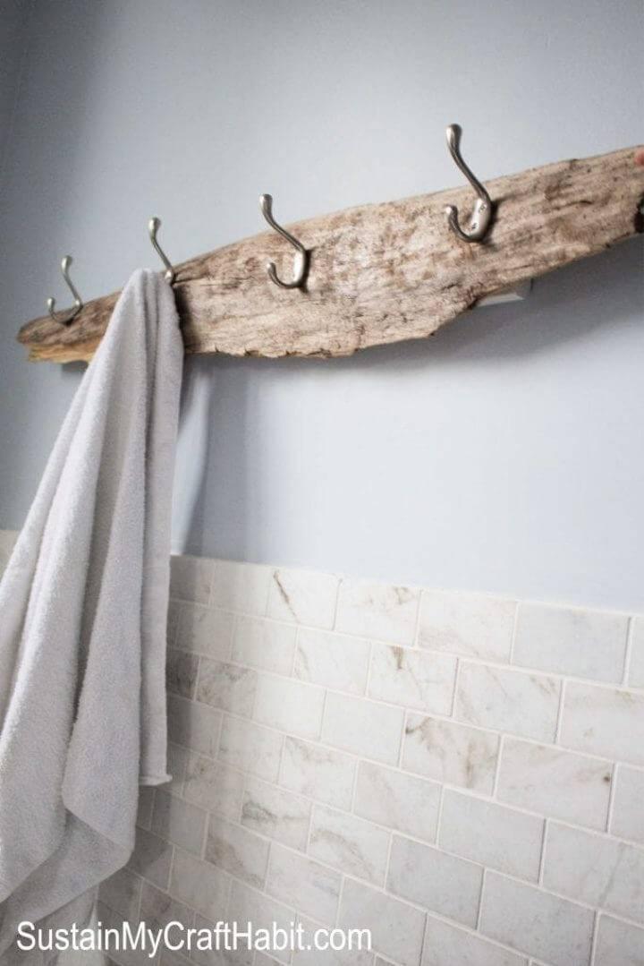 Rustic DIY Driftwood Towel Rack