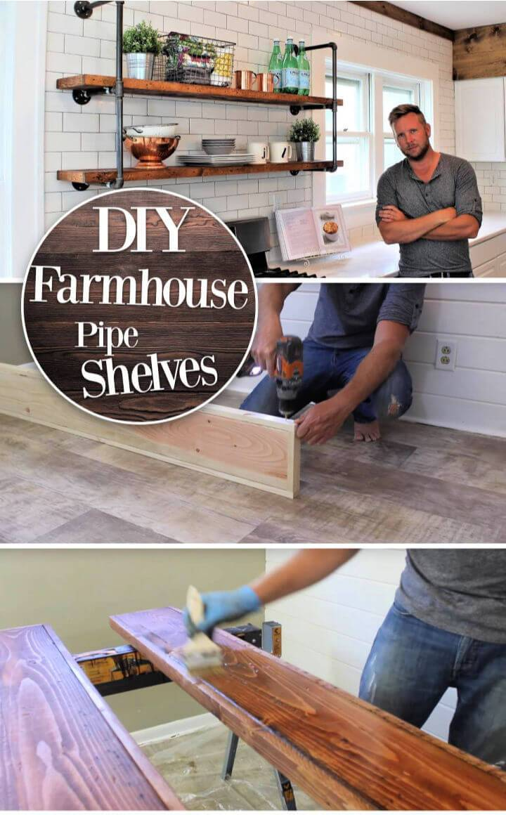 Rustic and Industrial Farmhouse Pipe Shelves