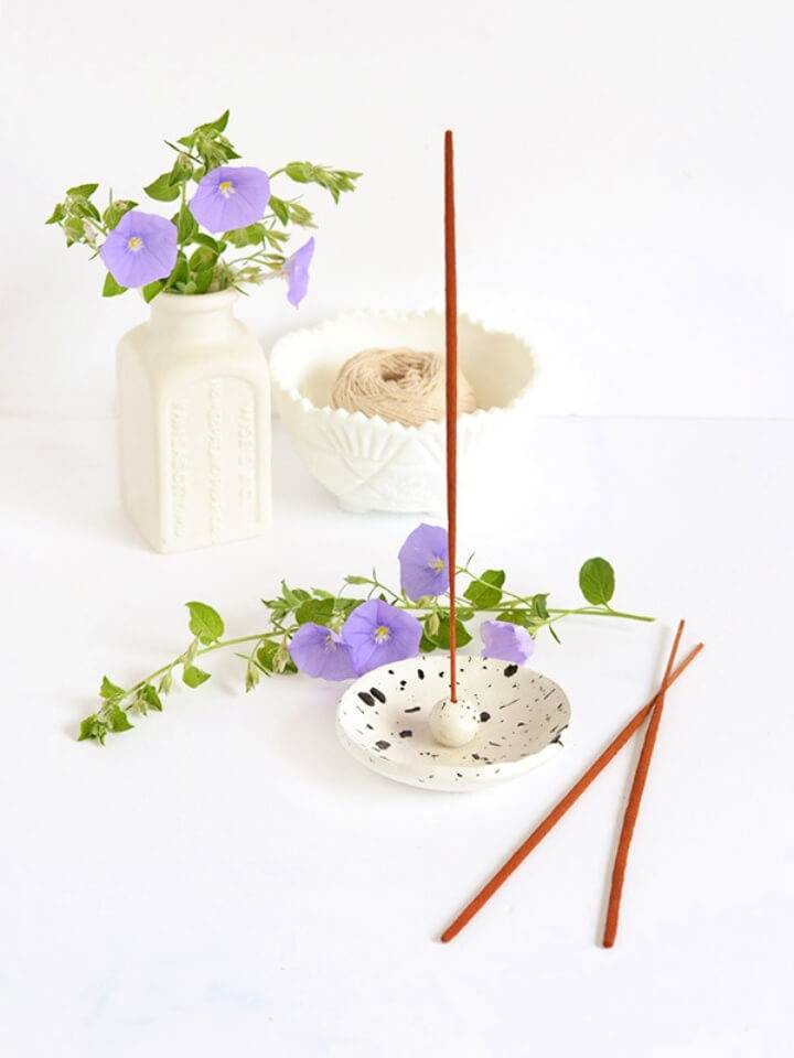 Spotted Air Dry Clay Incense Holder