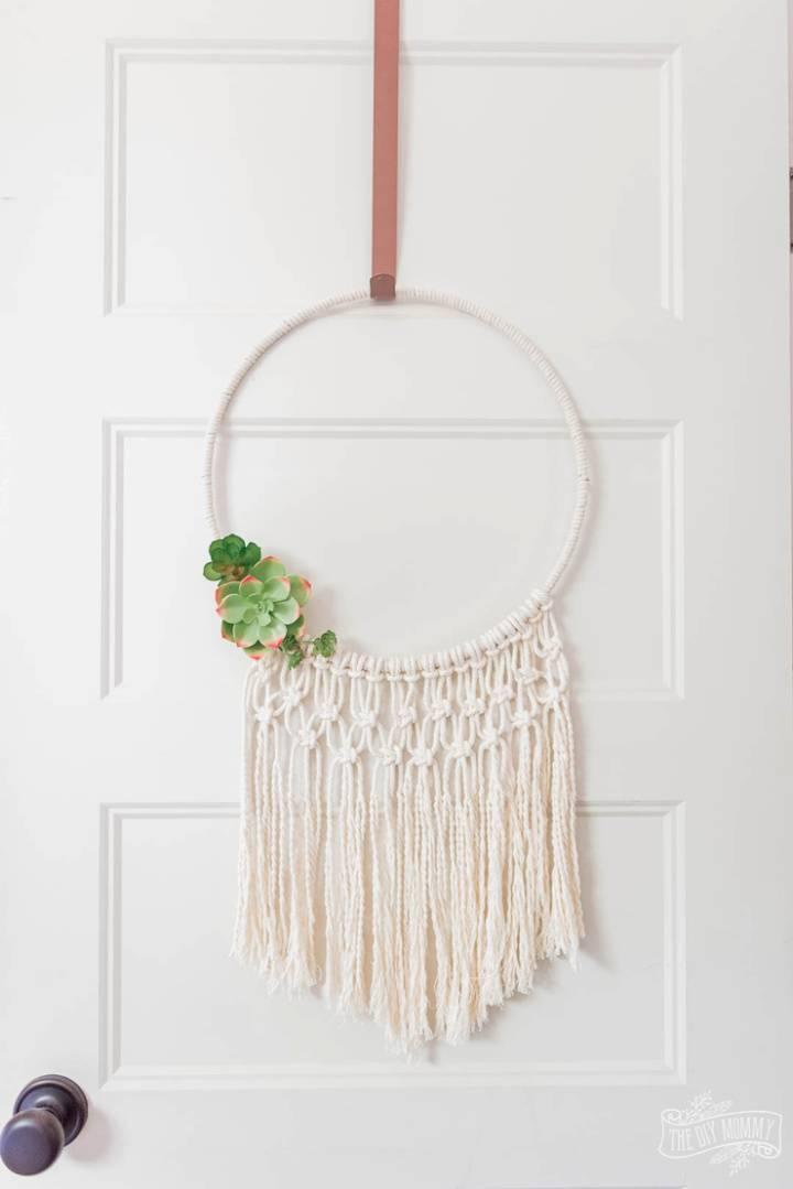 Summer Hoop Wreath Using Macrame Cord
