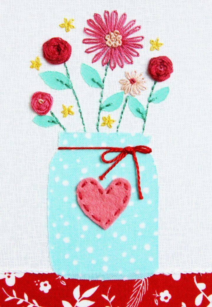 Sweet Mason Jar Vase Hoop – Free Embroidery Pattern