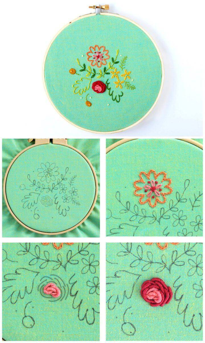 Sweet Posy Embroidered Hoop Art Pattern