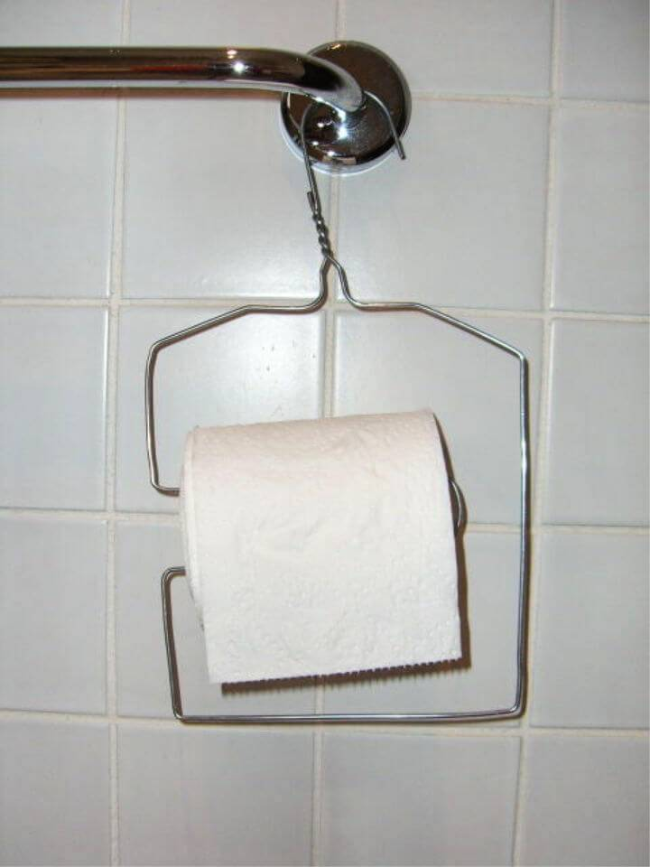 Wire Coat Hanger Toilet Roll Holder
