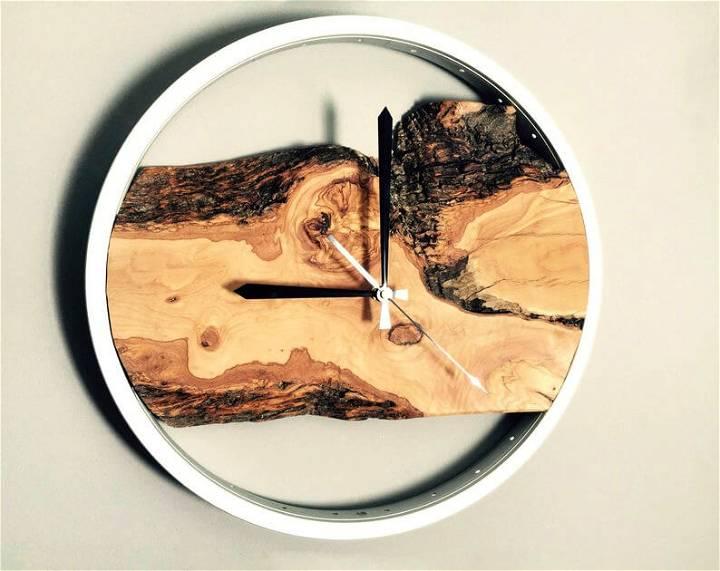 live edge wood wall clock