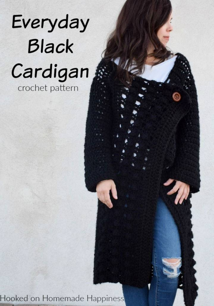 Crochet Everyday Black Cardigan