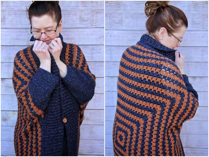 Crochet Kimono Blanket Cardigan