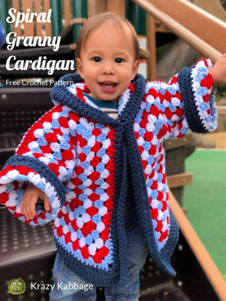 Crochet Hexagon Granny Square Hooded Cardigan