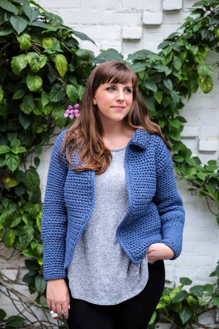 Crochet Jean Jacket Cardigan