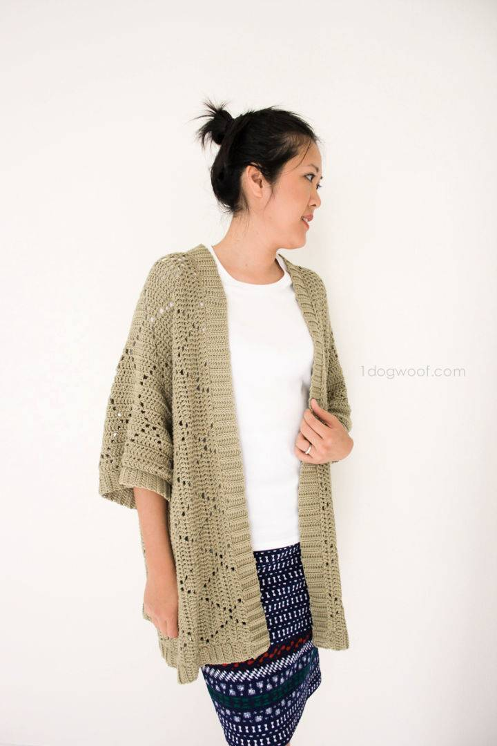 Crochet Summer Diamonds Kimono Cardigan