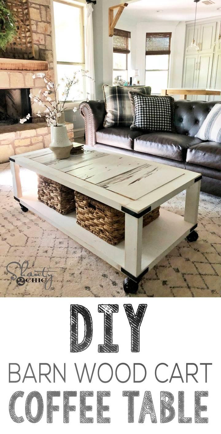 DIY Barn Wood Cart Coffee Table