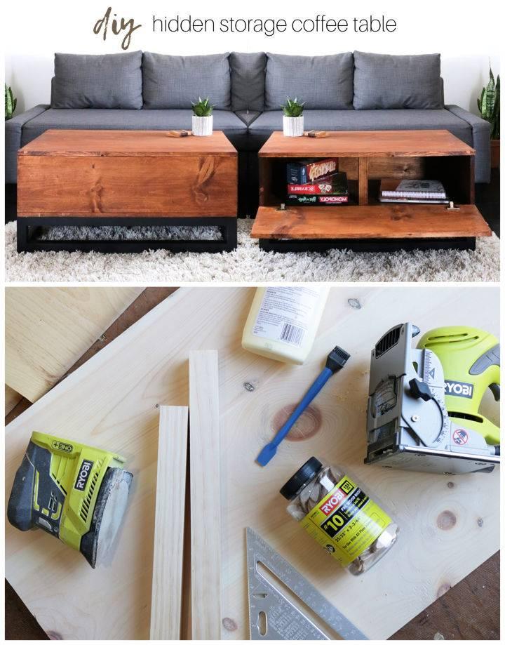 DIY Coffee Table with Hidden Storage