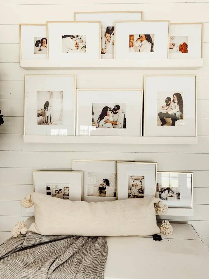 DIY Picture Ledge Photo Wall