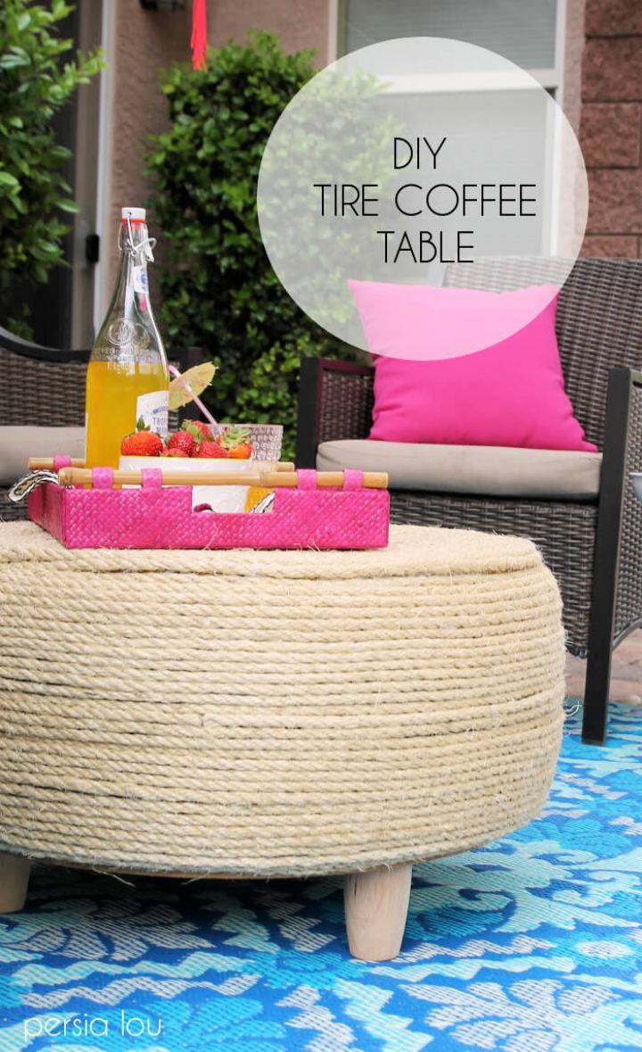 DIY Tire Coffee Table for Patio