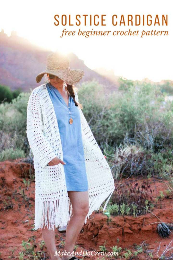 Crochet Fringed Long Cardigan