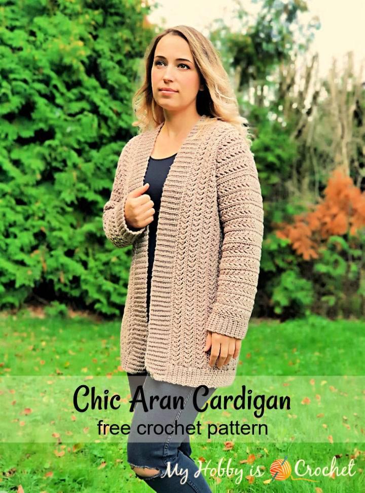 Free Crochet Chic Aran Cardigan Pattern